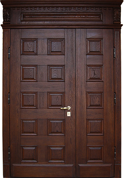 входная двойная металлическая дверь в коттедж